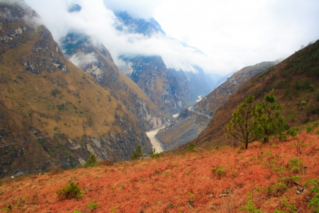 flood area sign: Tiger Leaping Gorge in Lijiang, Yunnan Province, China
