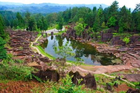 Rode rotsen van Zhangjiajie Stockfoto