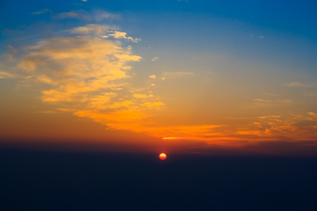 enlightment: A morning dawn at the top of Mount Emei. Sichuan. China.