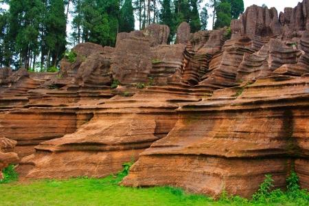 Rode rotsen van Zhangjiajie. Provincie Hunan. China.
