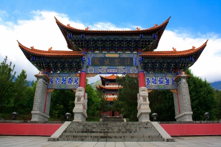 The Gate in Chongshen monastery. Dali. Yunnan province. China.