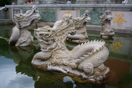 Mystical Dragons in Chongshen monastery. Dali. Yunnan province. China.