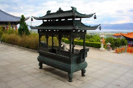 The Buddhist incense burner in Chongshen monastery. Dali. Yunnan province. China. Stock Photo