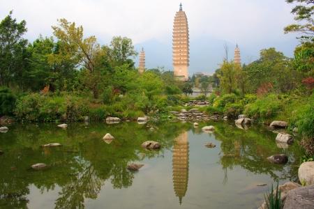 Reflection of Three Pagodas Dali China