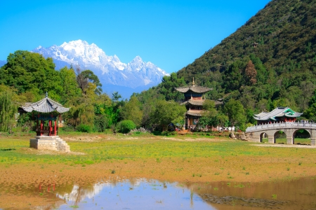 Black Dragon Pool without water  Lijiang  China  Stock Photo