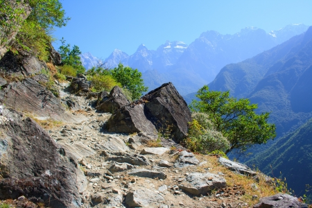 flood area sign: Tiger leaping gorge  Tibet  China  Stock Photo