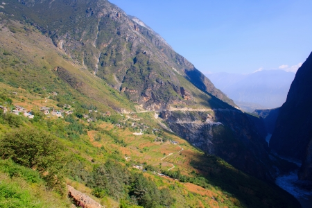 flood area sign: Morning in Tiger Leaping Gorge  Tibet  China