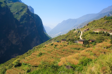 flood area sign: Scenery of Tiger Leaping Gorge  Tibet  China