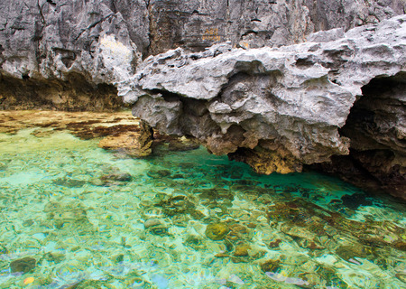coron: Rocks and sea. On a tropical island. Philippines. Stock Photo
