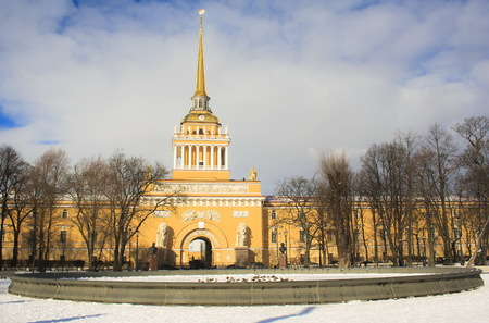 The building of the Admiralty and a winter garden. St. Petersburg. Russia. Stock Photo