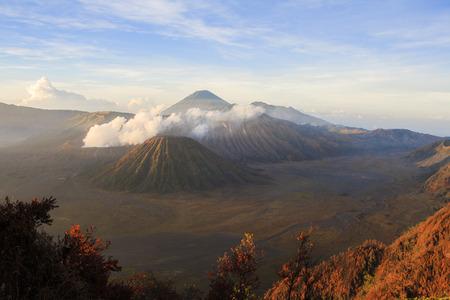 Sunrise on Volcanoes Bromo, Semaru and Batok. Indonesia. Stock Photo