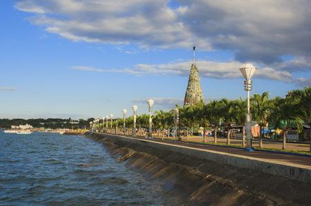 New Year's Spruce on Baywalk of Puerto Princesa city. Palawan island. Philippines.