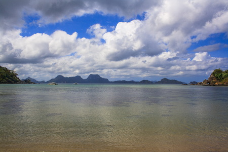 Landscape of the beach of Nacpan. The island of Palawan. Philippines. Banco de Imagens