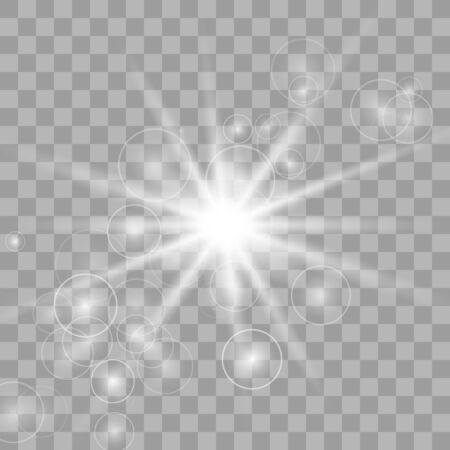 Sparkling magical dust particles. Bright Star. Transparent shining sun, bright flash. Vector sparkles. To center a bright flash. Vectores