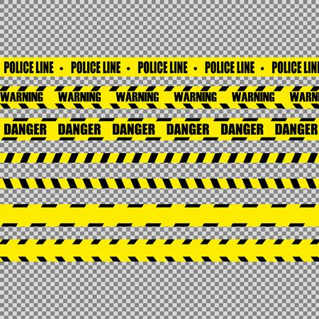 Realistic warning tapes. Illustration consists of Warning, Danger, Police line tape with text and different tapes without signs. Vector Illustration.