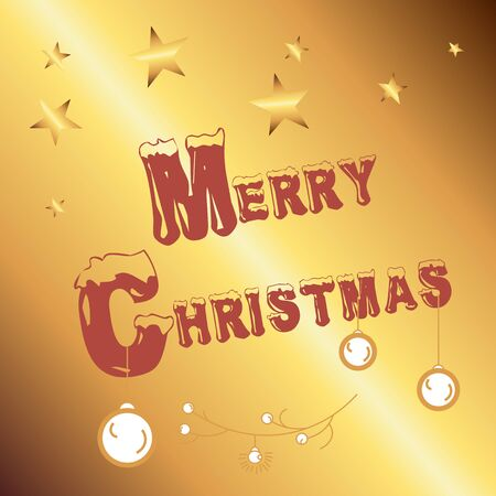 Merry christmas, happy new year lettering font text card. White background. Vector illustration isolated background.
