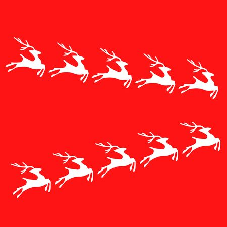 White reindeer isolated on red background. Vector illustration .