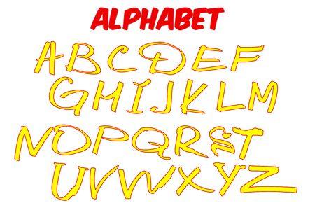 Vector children alphabet. Funny brush hand drawn letters. Vector illustration