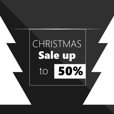 Poster for Christmas Sale background Banner or poster for shopping store discount with tree. Christmas sale up- Vector illustration