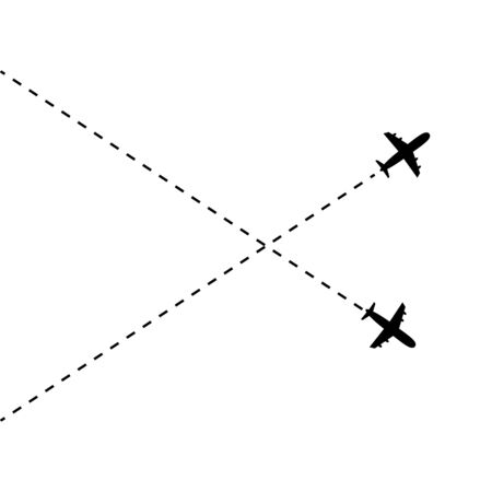 Airplane line path vector icon of air plane. Vector illustration