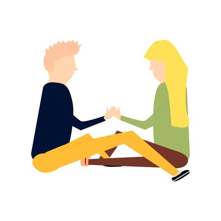 Scene with adorable romantic couple. Man and woman kissing, hugging, walking, eating. Colorful illustration in flat cartoon style. 向量圖像