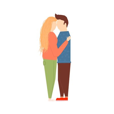 Scene with adorable romantic couple. Man and woman kissing, hugging, walking, eating. Colorful illustration in flat cartoon style. Stock Illustratie