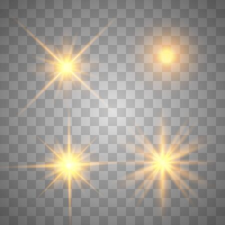 Gold glowing light set explodes on a transparent background. Sparkling magical dust particles. Bright Star. Transparent shining sun, bright flash. Vector sparkles. To center a bright flash.
