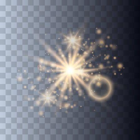 Glowing light explodes on a transparent background. Sparkling magical dust particles. Bright Star. Transparent shining sun, bright flash. Vector sparkles. To center a bright flash. Ilustração Vetorial
