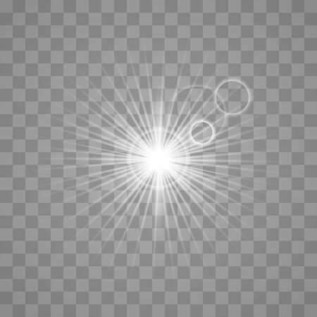 White glowing light burst explosion with transparent.Bright star. Transparent shine gradient glitter, bright flare. Glare texture. Vector illustration. Ilustração