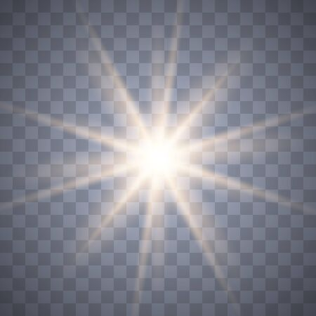 Glowing light burst explosion with transparent.Bright star. Transparent shine gradient glitter, bright flare. Glare texture. Vector illustration. Vektorové ilustrace