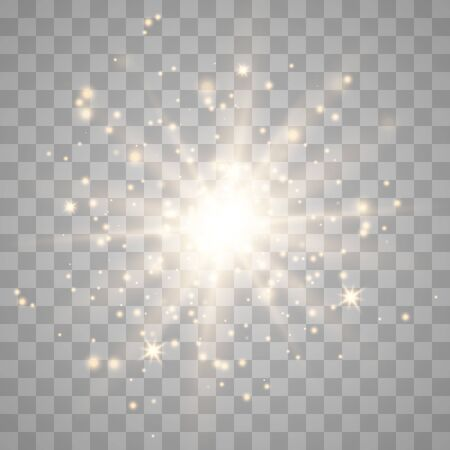 Glow light effect with sparks and golden stars shine with special light.White glowing light. Star Light from the rays. The sun is back lit. Bright beautiful star. Sunlight. Vektorové ilustrace