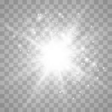 Glow light effect with sparks and golden stars shine with special light.White glowing light. Star Light from the rays. The sun is back lit. Bright beautiful star. Sunlight.