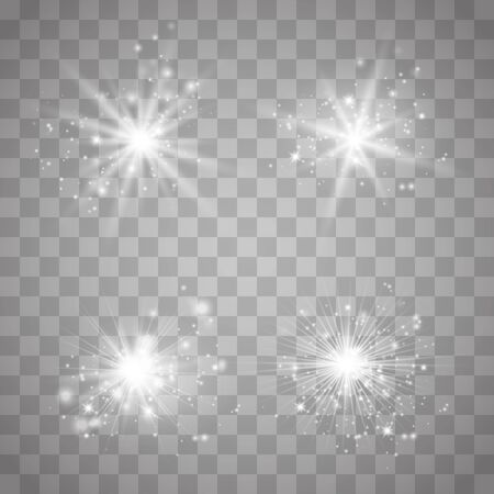 Set glow light effect with white sparks and golden stars shine with special light.White glowing light. Star Light from the rays. The sun is back lit. Bright beautiful star. Sunlight.