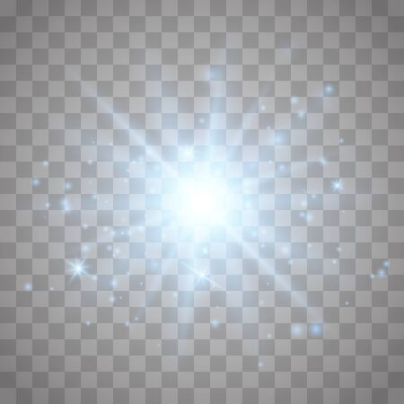 Glow light effect with white sparks and golden stars shine with special light.White glowing light. Star Light from the rays. The sun is back lit. Bright beautiful star. Sunlight. Vektorové ilustrace