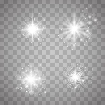 Set glow light effect with white sparks and golden stars shine with special light.White glowing light. Star Light from the rays. The sun is back lit. Bright beautiful star. Sunlight. Vektorové ilustrace