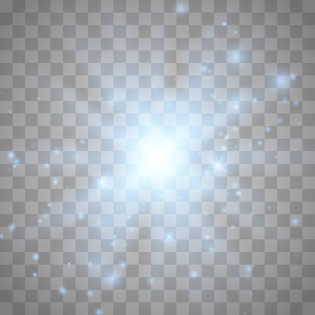 Glow light effect with white sparks and golden stars shine with special light.White glowing light. Star Light from the rays. The sun is back lit. Bright beautiful star. Sunlight.