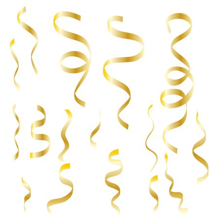 Falling shiny golden confetti glitters Isolated on Transparent Checkered Background. Glamour flying sparkle elements, gold foil texture serpentine streamers confetti. Vector illustration . Vektoros illusztráció
