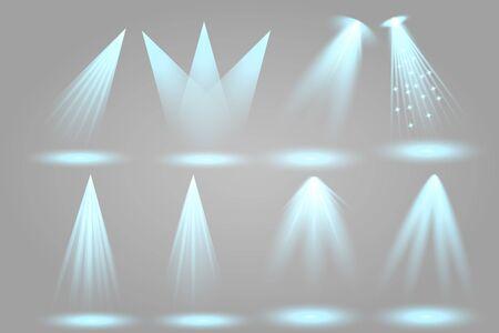 Scene illumination collection. Big set Bright lighting with spotlights. Spot lighting of the stage.