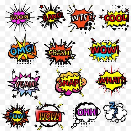 Fumetti comici o repliche sonore impostate. Esplosioni di cartoni animati vettoriali con diverse emozioni. Grafica a colori per opuscoli, volantini, carte e vendite. Illustrazione vettoriale Vettoriali