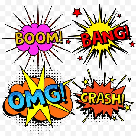 Comic speech bubbles or sound replicas set. Vector cartoon explosions with different emotions.Color graphics for brochures, leaflets, cards and sales. Vector illustration