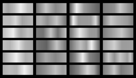 Vector silver set of gradients, consisting of collection silver glossy squares