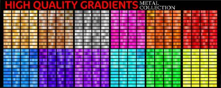 Vector set of colorful gradients. Big collection colorful metallic gradients consisting  backgrounds of different glossy colors Ilustração