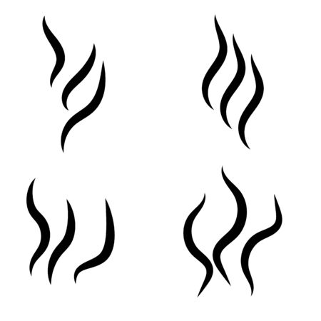 Smoke steam silhouette icon. Cooking steam or warm aroma smell mark, steaming vapour odour symbols. Set of smoke vector icon.  イラスト・ベクター素材