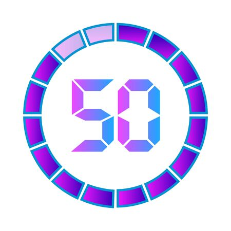 The 50 minutes or seconds, stopwatch vector icon, digital timer. clock and watch, timer. Modern style in neon color. Illustration
