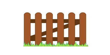 Clôture en bois texturé avec de l'herbe, bords arrondis. Illustration vectorielle Eps10.