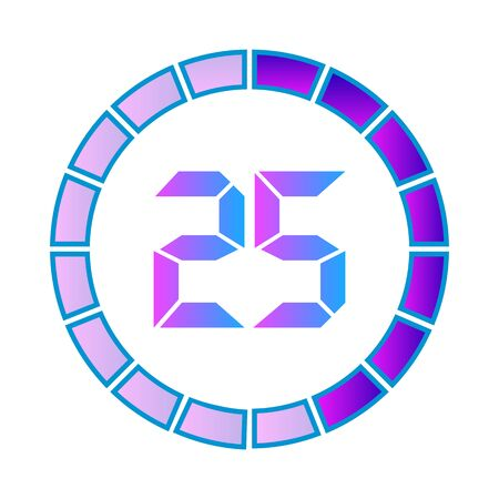 The 25 minutes or seconds, stopwatch vector icon, digital timer. clock and watch, timer. Modern style in neon color. Illustration