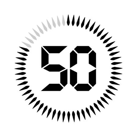 The 50 minutes or seconds, stopwatch vector icon, digital timer. clock and watch, timer.