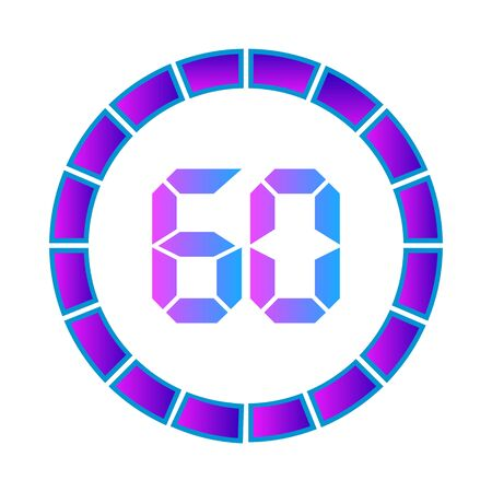 The 60 minutes or seconds, stopwatch vector icon, digital timer. clock and watch, timer. Modern style in neon color.