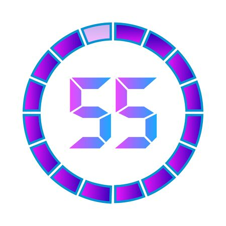 The 55 minutes or seconds, stopwatch vector icon, digital timer. clock and watch, timer. Modern style in neon color. Illustration