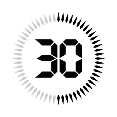 The 30 minutes or seconds, stopwatch vector icon, digital timer. clock and watch, timer. 向量圖像